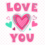 Love you lettering template Stock Photos