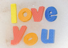 Love you letters. In a bath royalty free stock photo