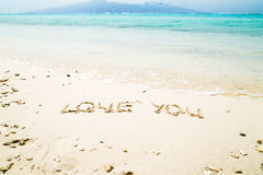 Love you letters on the beach Stock Photo