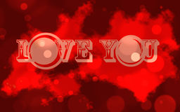 Love you. Letters lights background digital art with red colors Royalty Free Stock Photography