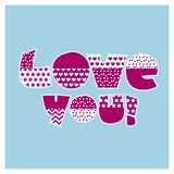 Love you letters vector illustration for card. Invitation, poster, header. valentines celebration text Royalty Free Stock Images