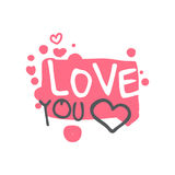 Love you logo template, colorful hand drawn vector Illustration in pink colors Stock Image