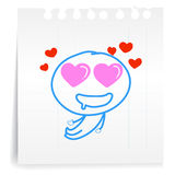 Love you so mach cartoon_on paper Note. Hand draw Love you so mach cartoon_on paper Note Royalty Free Stock Photography