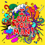Love you man doodles Royalty Free Stock Photography