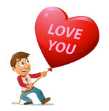 Love you. Man keeps red heart balloon. Cartoon styled vector illustration. Elements is grouped. No transparent objects Stock Image