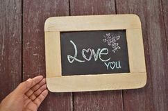 Love you massage on blackboard Royalty Free Stock Photo