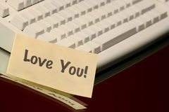 Love you message. Horizontal love you message on the keyboard Stock Photography