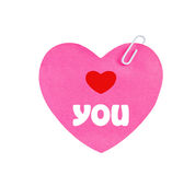 Love you message on heart shape pink paper Stock Photo