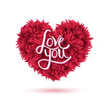 Love You Message on Red Flowers Forming Heart Royalty Free Stock Photography