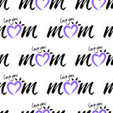 Seamless love you mom lettering background and pattern vector illustration Stock Photography