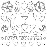 Love you mom. Coloring page. Black and white vector illustration. Love you mom. Coloring page. Black and white vector illustration of a cat with a heart stock illustration