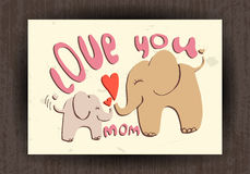 Love you mom, greetings card with animals. Mothers day Stock Photo
