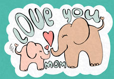 Love you mom, greetings card with cute animals, mothers day Royalty Free Stock Photos