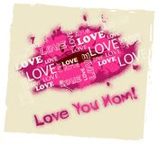 Love You Mom Means Mamma Mummy And Loving. Love You Mom Lips Showing Ma Fondness And Devotion stock illustration