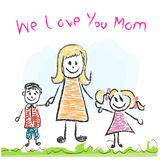 We love you Mom Mother's day doddle greeting card Royalty Free Stock Photos
