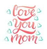 Love you mom pink text and blue hearts vector illustration