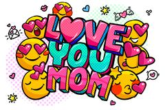 Love you Mom in pop art style for Happy Mother s Day celebration. Love you Mom message in sound speech bubble with smiles in pop art style for Happy Mother`s stock illustration