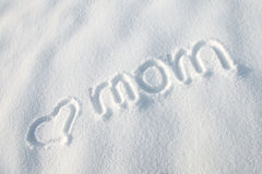 Love you mom snow background Stock Photo