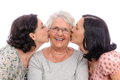 Old person young living kiss together Stock Image