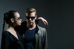Love you so much. Couple in love. Couple of man and woman wear fashion glasses. Love relations. Friendship day. Love you so much. Couple in love. Couple of men royalty free stock photo
