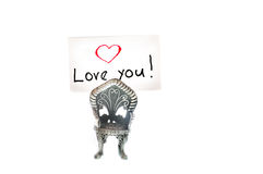 Love you note. Written on an index card, in a photo holder Stock Photos