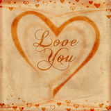 Love you on old paper Royalty Free Stock Photos