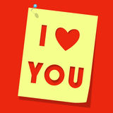 Love you paper note Stock Photography