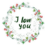 Love you postcard with nice floral design and strawberry Stock Photos