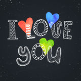 Love you poster. I love you text with watercolor hearts on chalkboard. Romantic doodle lettering. Zentangle hand drawn poster. Colorful greeting card Stock Images