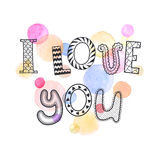 Love you poster. I love you text with watercolor spots on background. Romantic doodle lettering. Zentangle hand drawn poster. Colorful greeting card Royalty Free Stock Images