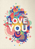 Love you quote poster design Royalty Free Stock Image
