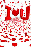 Love you red heart cupid hearts falling stock photography