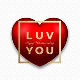 Love You Red Premium Vector Heart on Transparent Background with Soft Shadows. Golden Modern Typography Valentines Day Stock Image