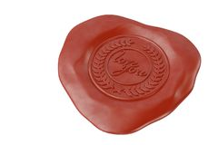 Love you red wax seal.3D illustration. Love you red wax seal. 3D illustration Stock Photos