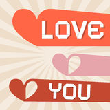 Love You Retro Paper Vector Illustration Royalty Free Stock Image