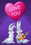 Love you. Romantic card with Rabbits. Cartoon styled vector illustration. Elements is grouped and divided into layers. No transparent objects Royalty Free Stock Image