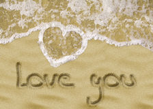 Love you sand writing Stock Photo