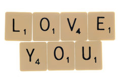 Love you scrabble letters Stock Photography