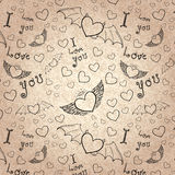 Love you seamless black on paper Royalty Free Stock Photos