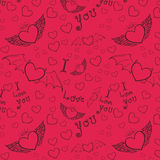 Love you seamless black on pink Royalty Free Stock Photos