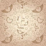 Love you seamless sepia on paper Stock Photo