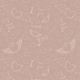 Love you seamless white on beige Royalty Free Stock Photo