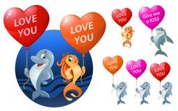 Love you. Set of funny sea inhabitants holding heart shape  Royalty Free Stock Photos