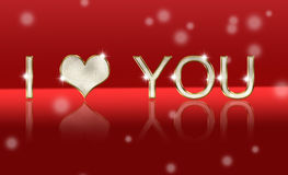 Love you, shiny lettering. Love you, shiny lettering on red background Royalty Free Stock Photo