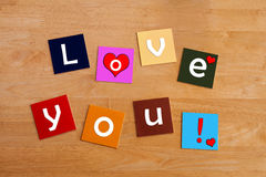 Love You ! Sign in letters for romance, love and relationships. Royalty Free Stock Photography