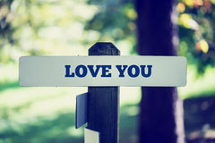 Love you signpost Royalty Free Stock Photography