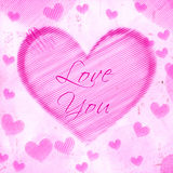 Love you in striped heart on pink old paper stock illustration