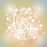 Love You Text on Blurred background with floral Royalty Free Stock Photo