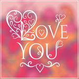 Love You Text on Blurred background with floral Royalty Free Stock Image