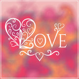 Love You Text on Blurred background with floral Royalty Free Stock Images